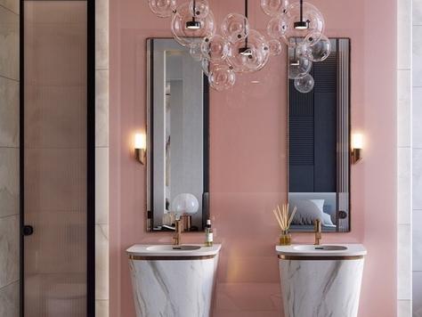 """Дизайн интерьера в Сургуте """"Розовые стильные ванные комнаты"""""""